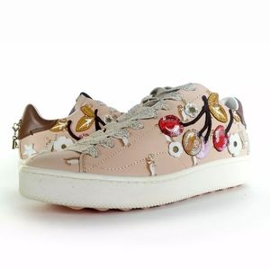 NWT  COACH Cherry Patches Leather Sneakers